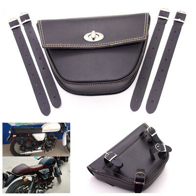 Motorcycle PU Leather Saddle Bag Luggage Tool Side Bag With 4Pcs Mounting Straps