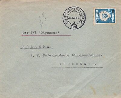 1938 Portugal Ss Odysseus Ships Mail Cover Posted To The Netherlands 43*