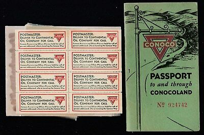 Vtg Conoco Memorabilia-Passport Booklet + Sheet Of 8 Mailing Stickers-1930's-Gvg