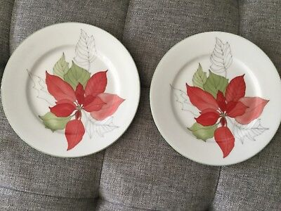 "LOT: 2 BLOCK SPAL Watercolors POINSETTIA Mary Lou Goerstzen PLATES 8"" Diameter"