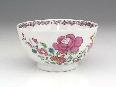 Antique Chinese Porcelain - Hand Painted Flower Decorated Tea Bowl - Nice!
