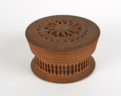 Antique 19thc turned and reticulated carved wooden treen box