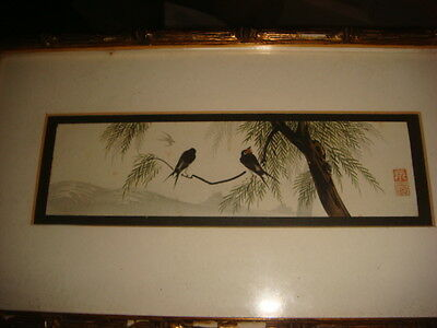 Pair of original Asian water color scenes Signed with Bamboo Style Frames