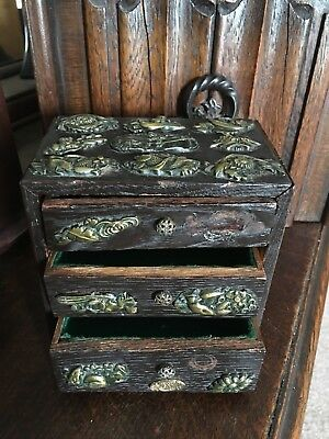 Antique Vintage Japanese Menuki Covered Box