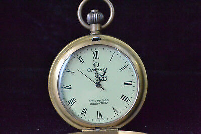 Clock Copper flower decor good Used Mechanical armstrong's patent Pocket Watch A