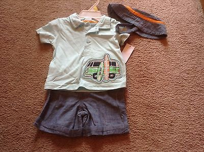 small wonders baby boy 3 piece outfit wave rider size 3-6 months polo shorts new