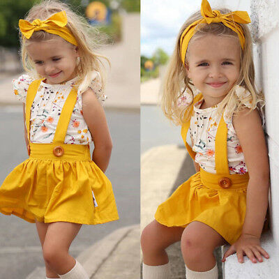 Infant Baby Toddler Girl Dress Set Solid Overalls Skirt+Tops+Headband Outfit UK