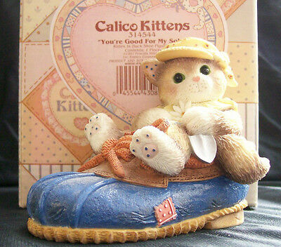 Calico Kittens #314544 You're Good For My Soul 1997 Kitten in Duck Shoe Figurine