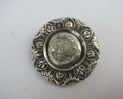 Old Solid Silver Decorative Brooch