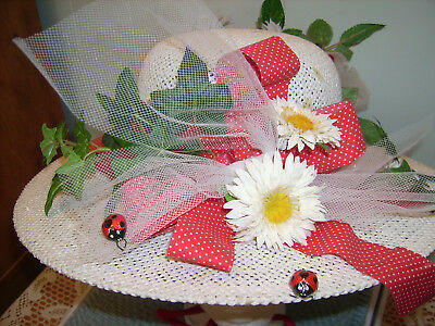 White Summer Hat W/flowers - Lg Hat Box W/country Scene - All Nice! -