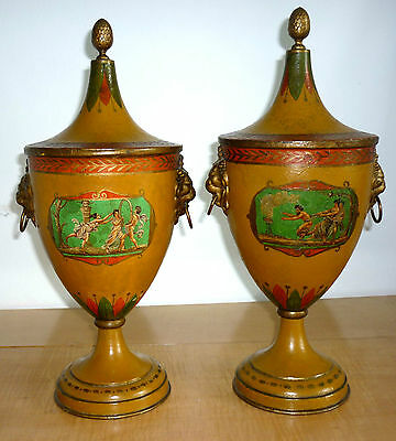 A Pair of George III period Tole Ware Chestnut Urns, English circa 1800.