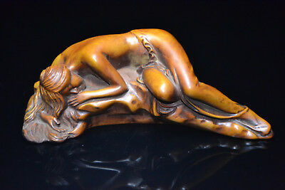 Handwork boxwood chinese Culture carve shy belle style rare netsuke high Statue