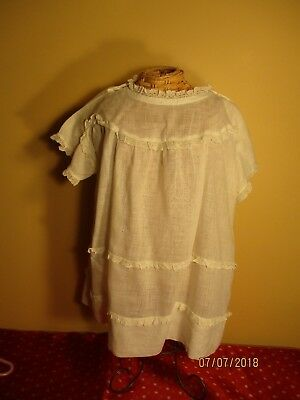 1940's vintage white batiste baby or doll dress with lace 2T