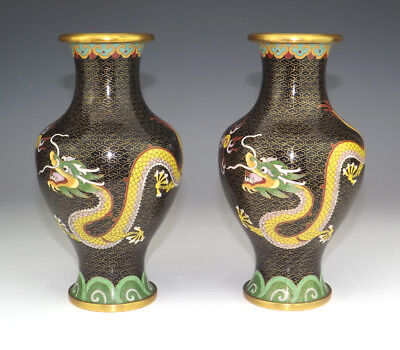 Vintage Chinese Cloisonne - Pair Of Oriental Dragon & Fireball Decorated Vases