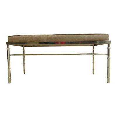 Vintage Brass Faux Bamboo Lounge Bed Side Window Bench Settee
