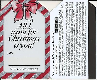 Christmas Mint Gift Card From Victoria's Secret Canada Bilingual No Value