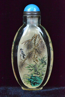 rare Collectible handwork old Glass inside paint bird on tree rare Snuff Bottle