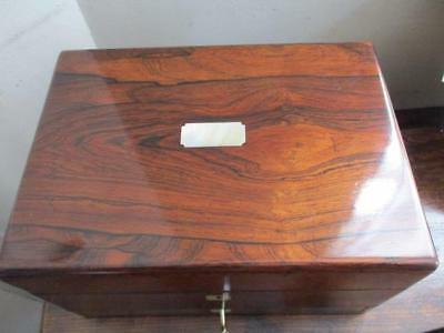 antique Victorian rosewood jewellery & vanity box, secret compartment, with key