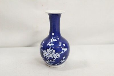 Chinese Porcelain Prunus Flowers Blue White Bulbous Flared Vase Signed