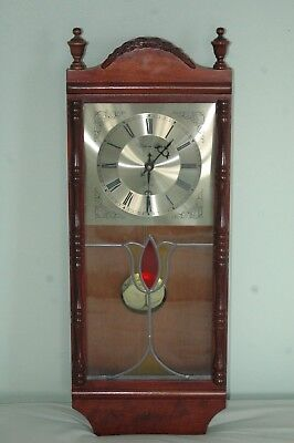 """Vintage """"william Dale"""" Wall Clock,stained Glass Face."""