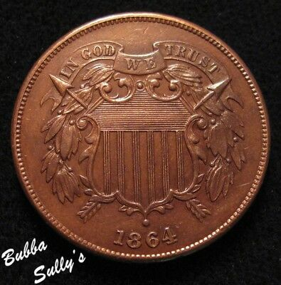 1864 Two Cent Piece <> AU Details