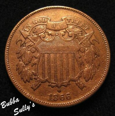 1866 Two Cent Piece <> VF Details