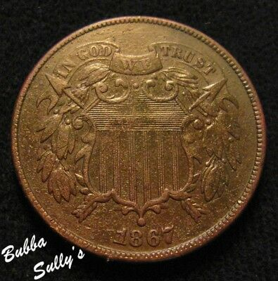 1867 Two Cent Piece <> VF Details