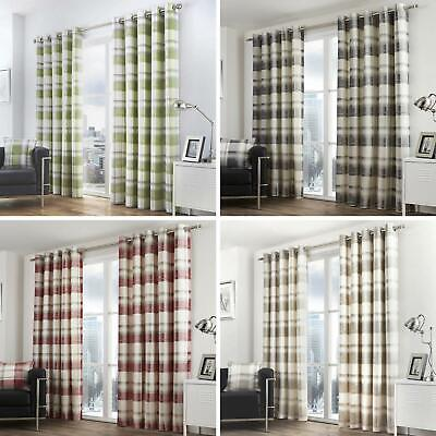 Balmoral Lined Eyelet Curtains Tartan Check Ready Made Ring Top Curtain Pairs