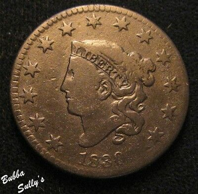 1830 Coronet Head Large Cent <> FINE