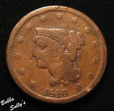1840 Braided Hair Large Cent <> Large Date <> VERY GOOD