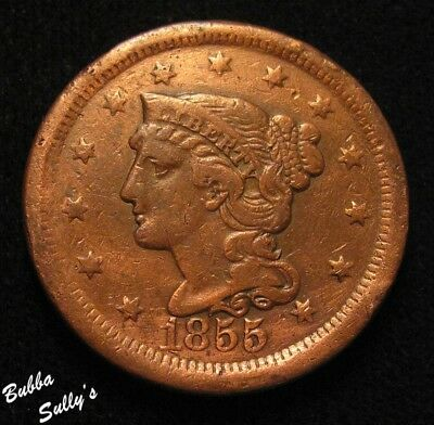 1855 Braided Hair Large Cent <> Upright 5's <> F Details