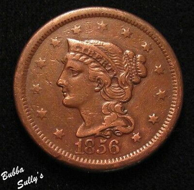 1856 Braided Hair Large Cent <> Italic 5 <> F to VF Details