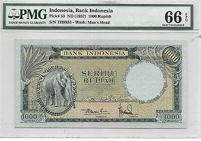 Indonesia, Bank Indonesia - 1000 Rupiah, ND (1957). PMG 66EPQ. RARE.