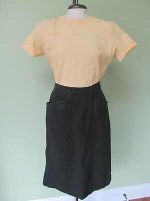Vintage 1950's 2 Pc. Outfit / Yellow Back Button Top And Gray Pencil Skirt
