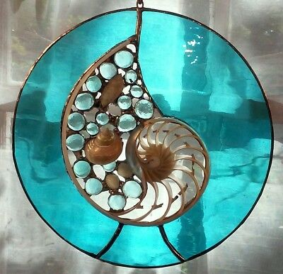 "10"" round - Center slice stained glass sculpture, gift,ocean,make in USA."
