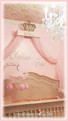 Shabby Pink Rose & Gold Bed Crown Canopy Teester /Color / Choices Princess Room