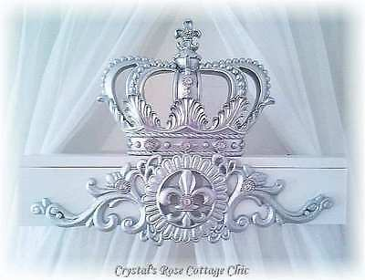 Silver & White Fleur de Lis Bed Crown Canopy Teester/Dessert Table Party Decor