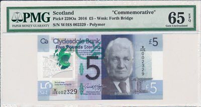 Clydesdale Bank  Scotland  5 Pounds 2016 Low No.002329 PMG  65EPQ  Polymer