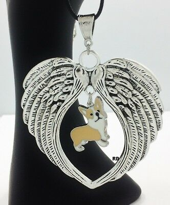 Welsh Corgi Dog  Lovers Angel Wings Memory Leather Necklace