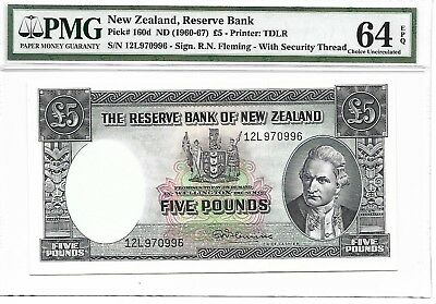 New Zealand, Reserve Bank - 5 pounds, nd (1960-67). PMG 64EPQ.