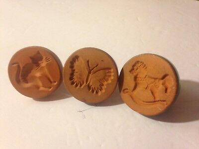 CLAY BISCUIT COOKIE PRESS Set Of 3 Butterfly , Cat, Rocking Horse