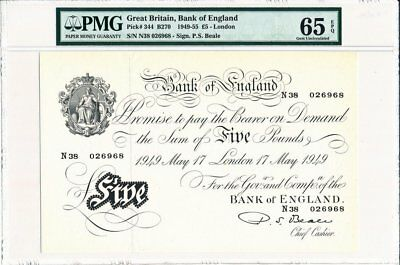 Bank of England Great Britain  5 Pounds 1949  PMG  65EPQ