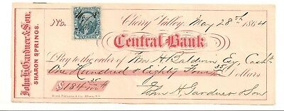 Civil War 1864 The Central Bank Cherry Valley NY Gardner Sharon Springs stamp R9
