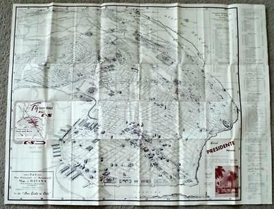 1949 Map of Havana New Panoramic and Monumental Blue Guide to Cuba La Habana
