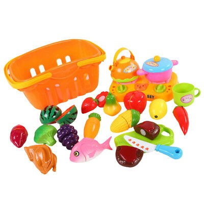 Set of 21pcs Plastic Fruits Vegetable Basket Kids Pretend Role Play Toy Gift