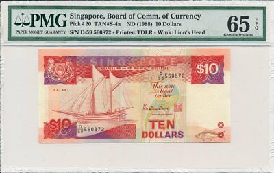 Board of Commissioners of Currency Singapore  $10 ND(1988)  PMG  65EPQ