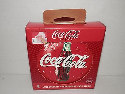 Coca-Cola Absorbent Stone Ware Coaster (4 pack) #13704 NIP