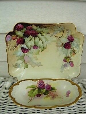 Two Hand Painted Limoges Raspberry Bowls
