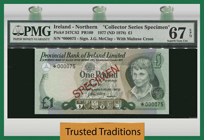 Tt Pk 247Cs2 1977 Northern Ireland 1 Pound Specimen Same Serial # Pmg 67Q Superb