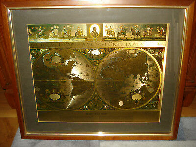 Vintage blaeu wall map framed gold foil twin hemisphere map 66cm x vintage blaeu wall map framed gold foil twin hemisphere map 66cm x 55cm publicscrutiny Images